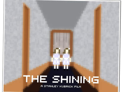 the twins from The Shining pixelated on a print