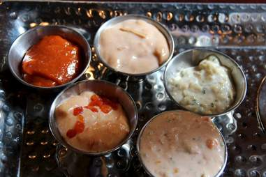 Dipping sauces at Monk