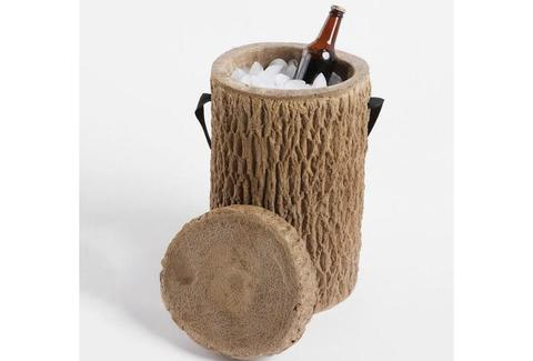 a cooler that looks like a tree stump from Wisconsin Products