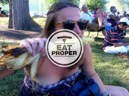 Liz Newman eating corn