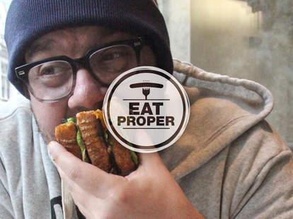 Thrillist Philadelphia editor Adam Robb, eating