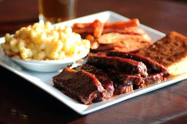 Cask 'n Flagon's Beef Brisket Plate w/ Corned Bread, Sweet Potato Fries, and Mac 'N Cheese
