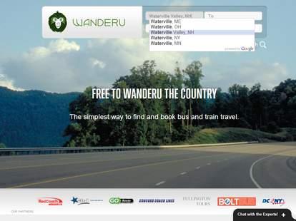 Wanderu.com homepage
