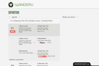 Wanderu.com search results