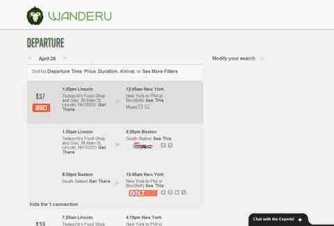 Wanderu.com search results