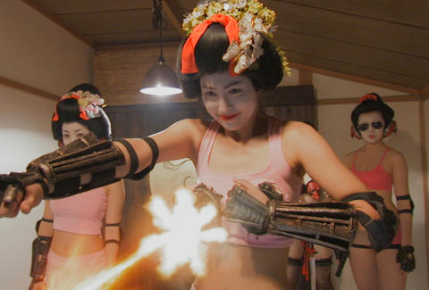 A RoboGeisha busts up the bad guys.