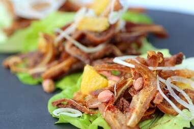 Pig ear lettuce wraps at Tongue & Cheek