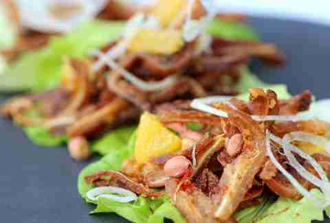 Pig ear lettuce wraps at Tongue & Cheek