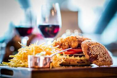 fried chicken burger at the pearson room