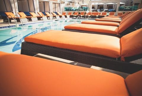 Poolside seating at Sapphire Pool & Day Club