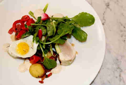 The Wahoo salad of quail egg and Benton's bacon