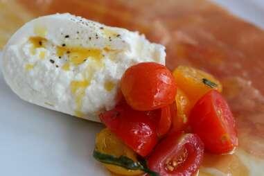 Burrata and tomatoes at Stanzione 87