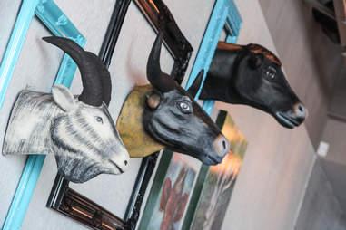 Animal heads at Haystack Burgers and Barley