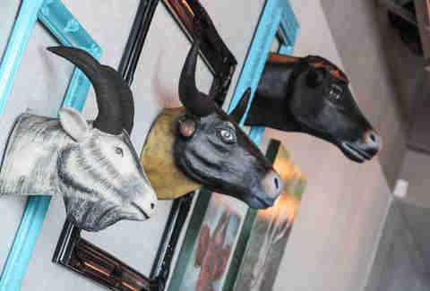 Animal heads at Haystack Burgers and Barley