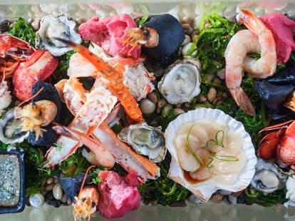 Shellfish aquarium dish at Kabocha Japanese brasserie in the West Loop