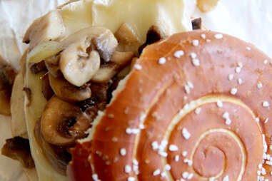 Brie and mushroom grilled cheese at Breezy's Cafe
