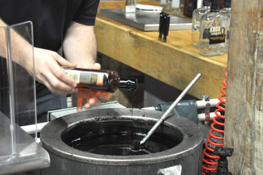 A Knob Creek bottle hand-dipped in hot wax