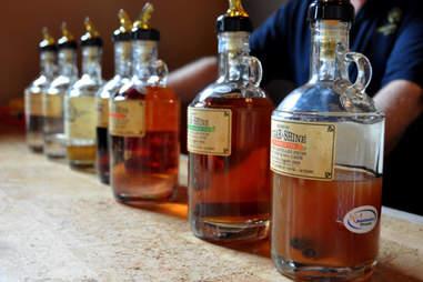 Moonshines and sugar whiskeys at the tasting bar at Limestone Distillery