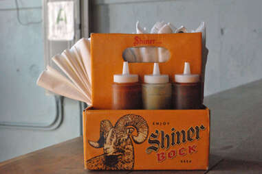 Housemade hot sauces at Silver Dollar Louisville