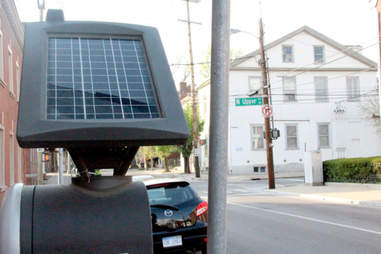 A solar powered parking meter outside Jonathan at Gratz Park in Lexington.