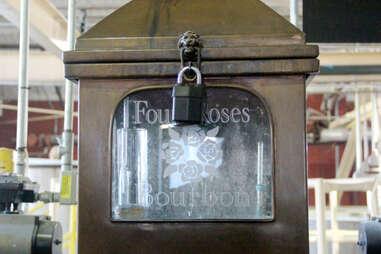 A locked sampling station at Four Roses distillery
