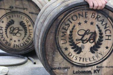 Bourbon barrels at Limestone Branch distillery