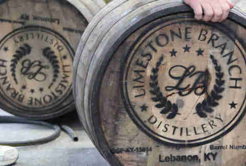 Bourbon barrels at Limestone Branch distillery