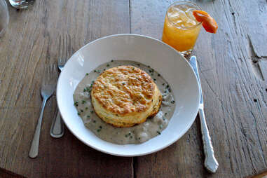 Biscuits and gravy, and the Old Forrester Old Fashioned at Harvest in Louisville
