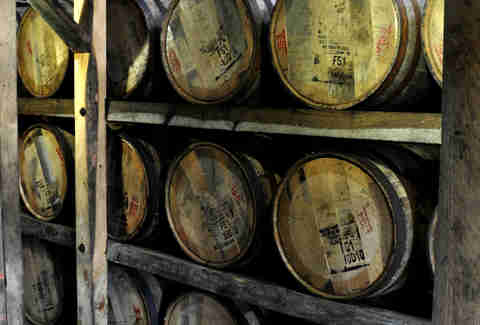 Barrels aging at Maker's Mark