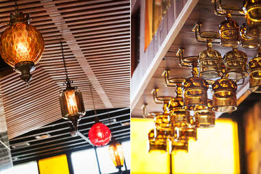 Vintage lighting and barware at Sycamore Den in Normal Heights San Diego.