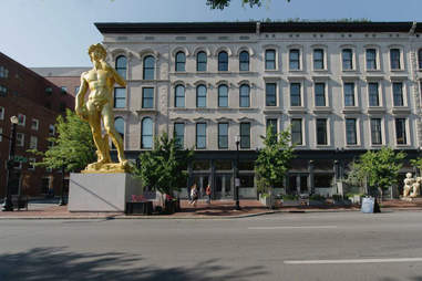 The David sculpture outside 21C Museum Hotel in Louisville