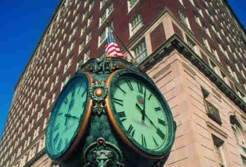 The clock outside the Brown Hotel Louisville