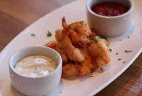 rock shrimp at Bonanno Brothers Pizzeria