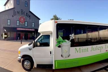 mint julep tours bus parked outside jim beam american stillhouse