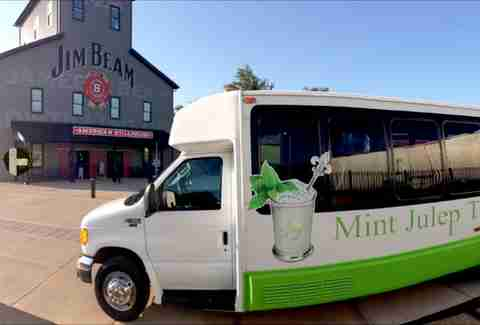 mint julep tours bus parked outside jim beam american stillhouse