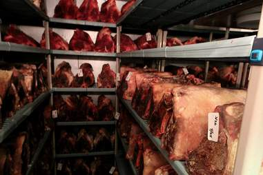 Dry-aging room at Wolfgang's Steakhouse Miami