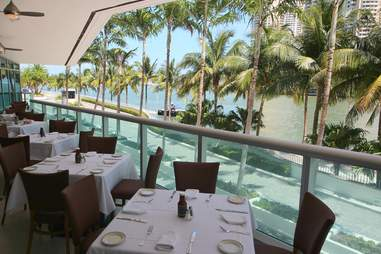 Outdoor seating at Wolfgang's Steakhouse Miami