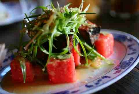 Fatty Crab watermelon pork belly salad