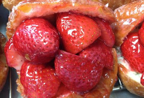 Strawberry stuffed doughnut at Donut Man in Glendora