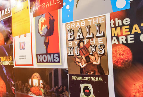 Posters at Zeno's Famous Meatball Kitchen