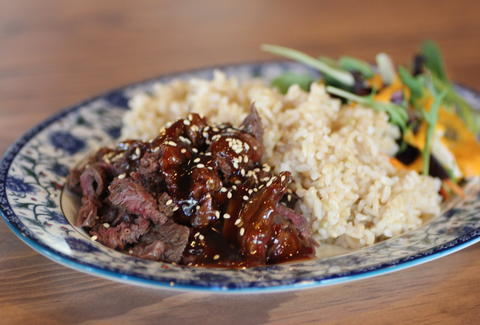 Teriyaki hanger steak at Glaze Teriyaki Grill