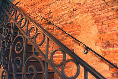 The wrought iron stairwell at Strangelove's