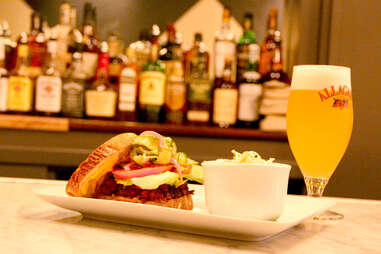 A beet burger with vegan Allagash White beer at Strangelove's