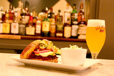 A beet burger with vegan Allagash White beer at Strangelove's