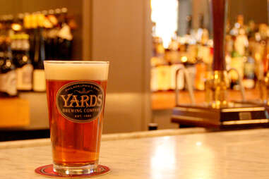 A glass of Yards beer on the marble bar at Strangelove's