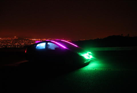 A Lyft with neon lights