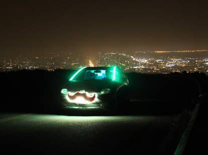 A Lyft with neon lights