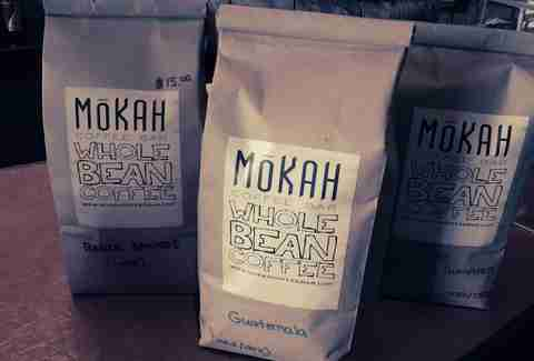 A bag of coffee from Mokah Coffee Bar