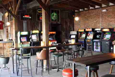 Barcade seating area and arcade