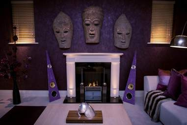 Speakers from Rinz Sound next to a fireplace